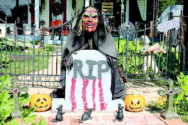 This creepy fellow greets you upon entering the Halloween display created by the Troutman family, whose house is located on San Antonio Avenue heading east out of Many.