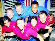 This image of the STS-107 shuttle Columbia crew in orbit was recovered from wreckage inside an undeveloped film canister. From left bottom row, Kalpana Chawla, Rick Husband, Laurel Clark and Ilan Ramon. From left top row, David Brown, William McCool and Michael Anderson.